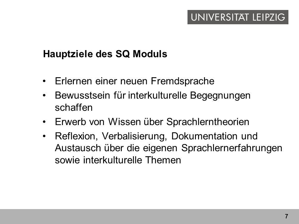 Hauptziele des SQ Moduls