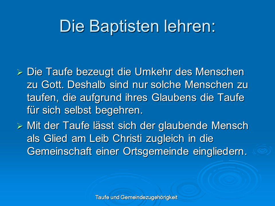 Taufe und Gemeindezugehörigkeit