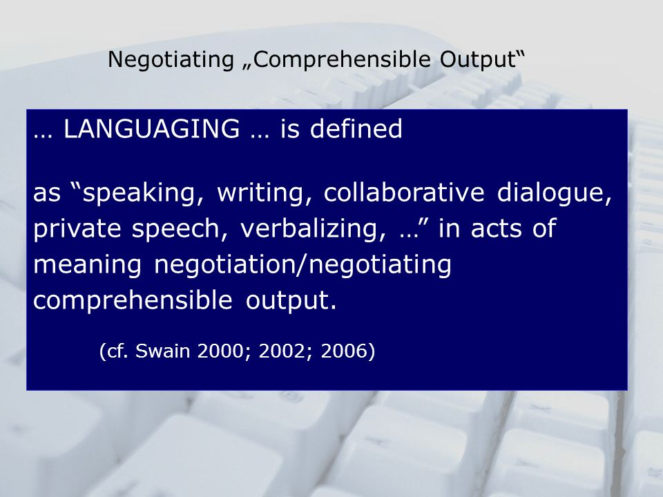 "Negotiating ""Comprehensible Output"