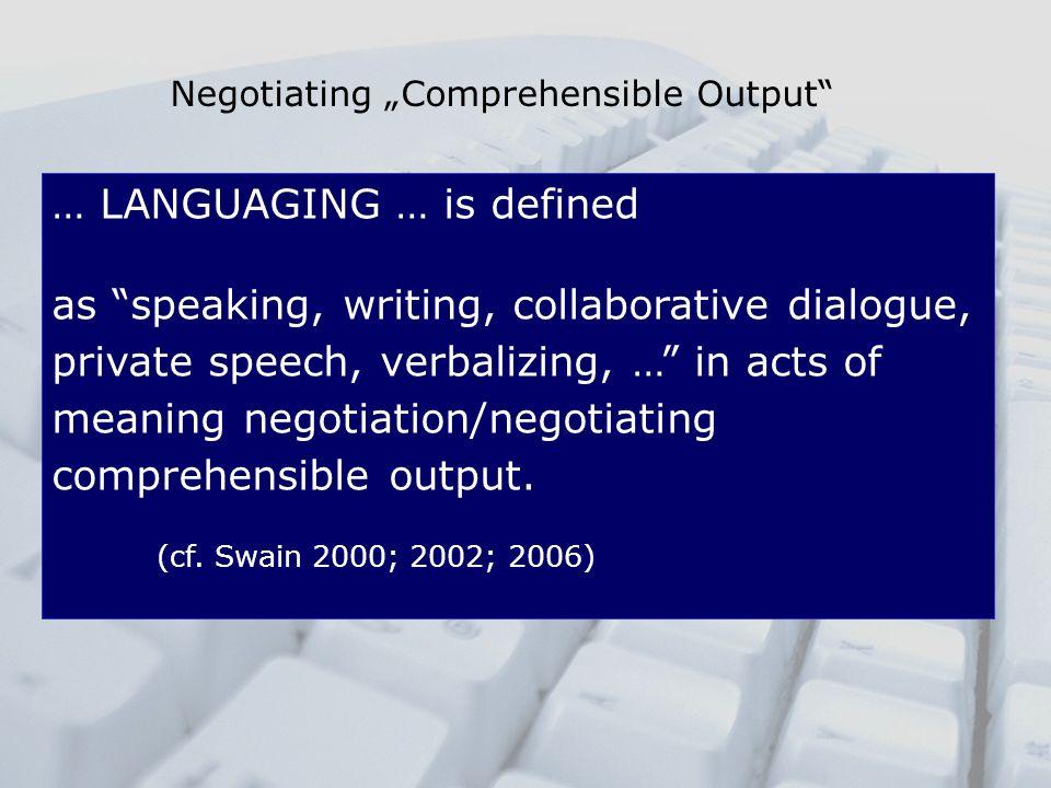 "Negotiating ""Comprehensible Output"