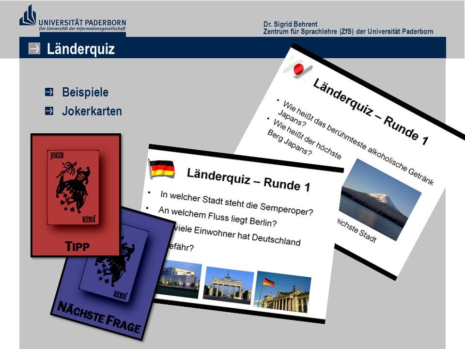 Länderquiz Beispiele Jokerkarten Dr. Sigrid Behrent
