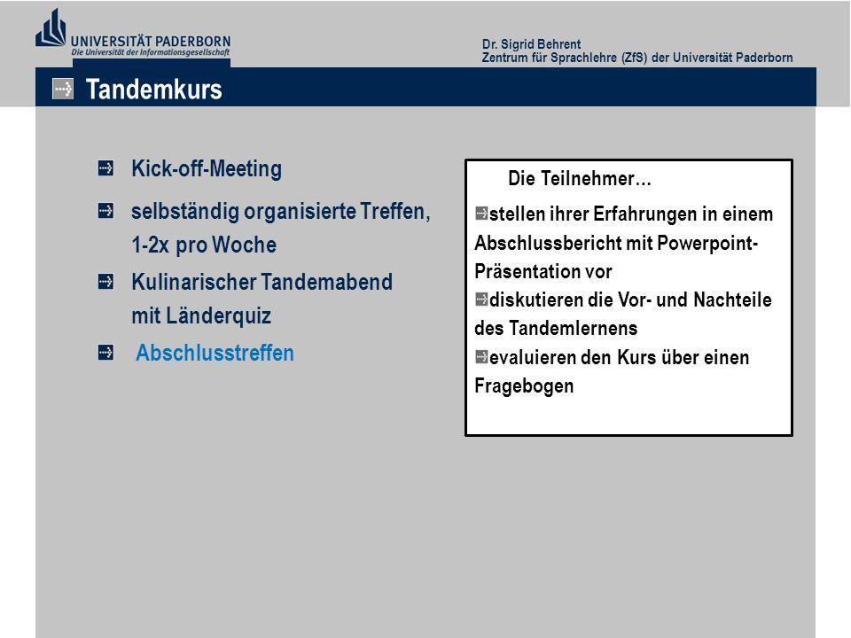 Tandemkurs Kick-off-Meeting selbständig organisierte Treffen,