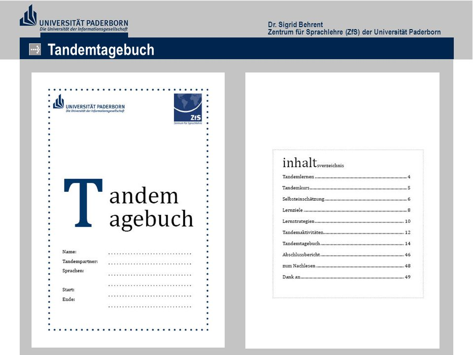 Tandemtagebuch Dr. Sigrid Behrent