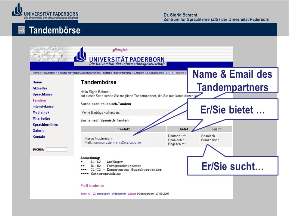 Name & Email des Tandempartners