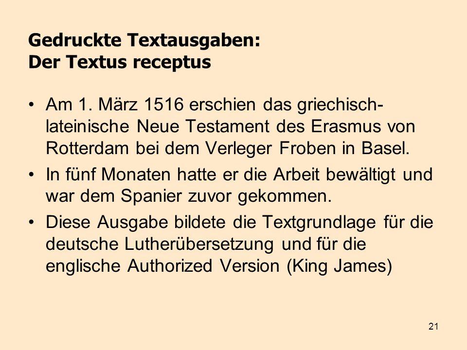 Gedruckte Textausgaben: Der Textus receptus