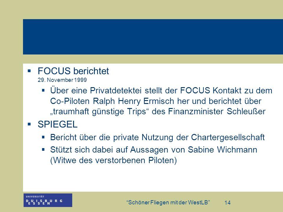FOCUS berichtet 29. November 1999