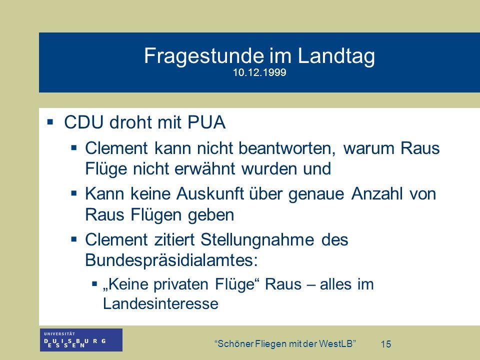 Fragestunde im Landtag 10.12.1999