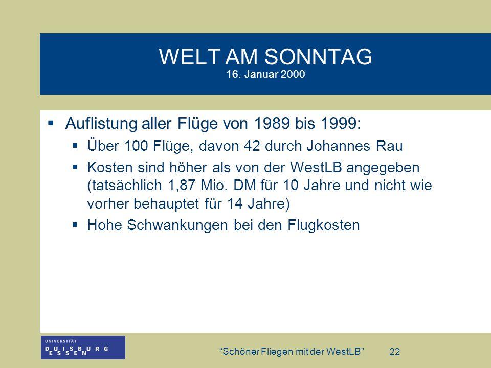 WELT AM SONNTAG 16. Januar 2000Auflistung aller Flüge von 1989 bis 1999: Über 100 Flüge, davon 42 durch Johannes Rau.