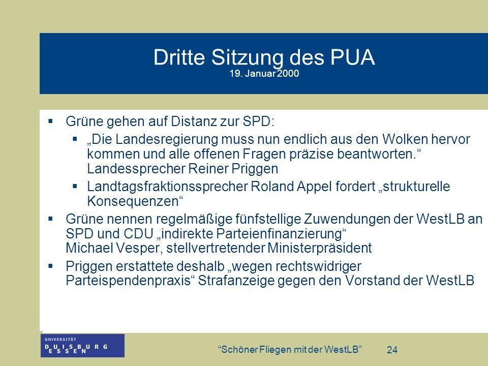Dritte Sitzung des PUA 19. Januar 2000