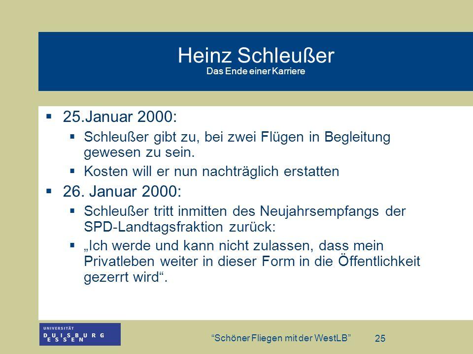 Heinz Schleußer Das Ende einer Karriere
