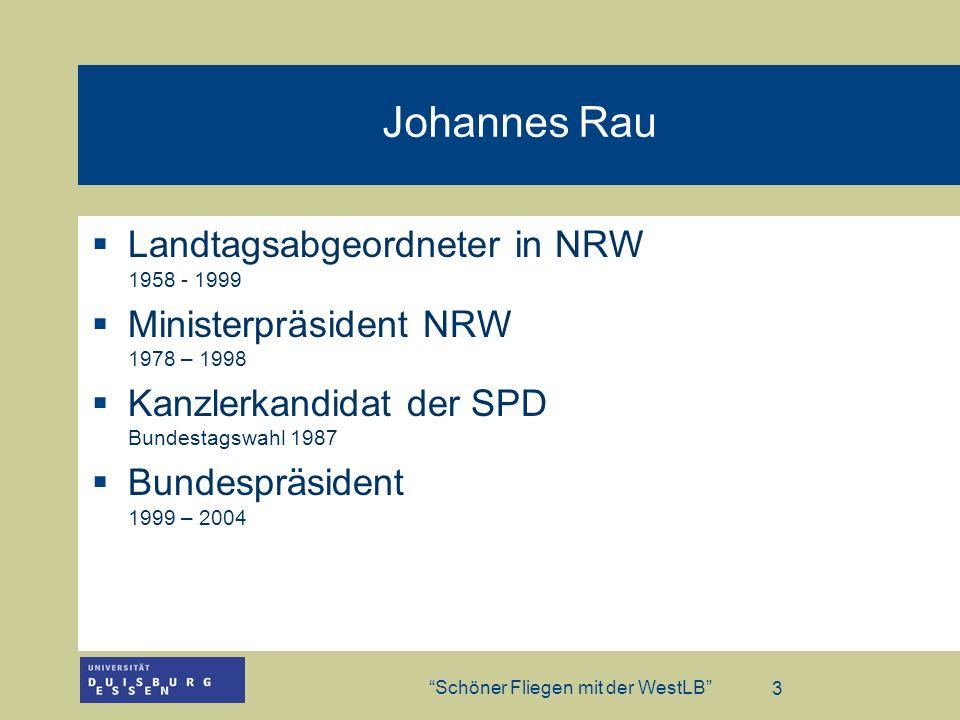 Johannes Rau Landtagsabgeordneter in NRW 1958 - 1999