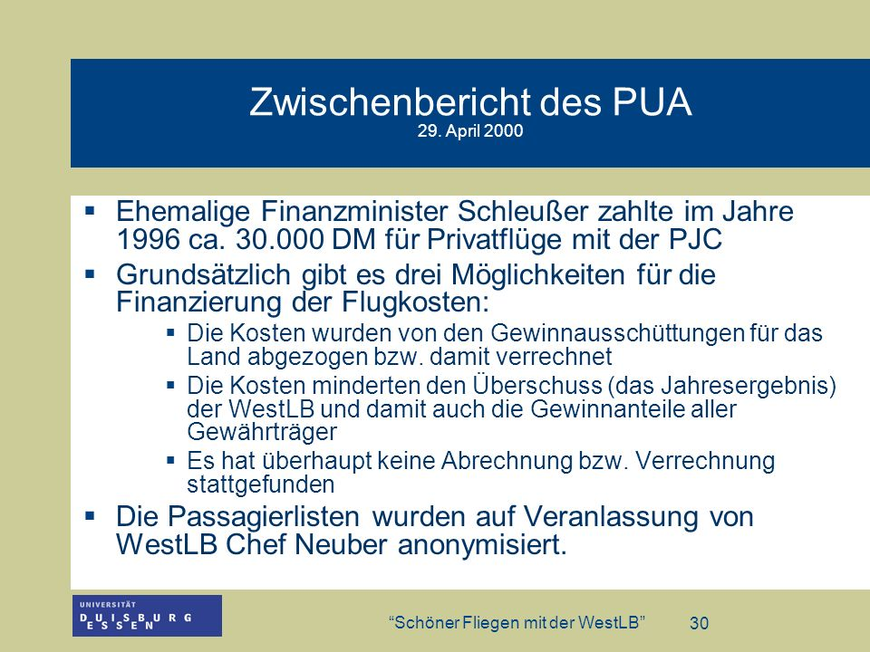 Zwischenbericht des PUA 29. April 2000