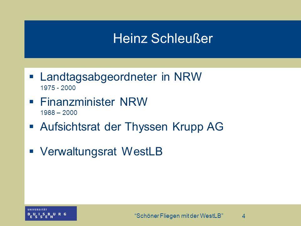 Heinz Schleußer Landtagsabgeordneter in NRW 1975 - 2000