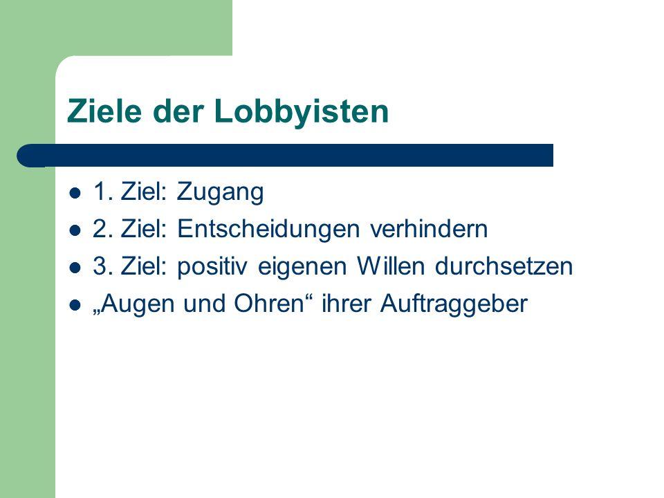 Ziele der Lobbyisten 1. Ziel: Zugang