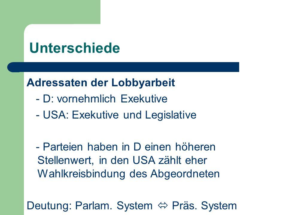 Unterschiede Adressaten der Lobbyarbeit - D: vornehmlich Exekutive