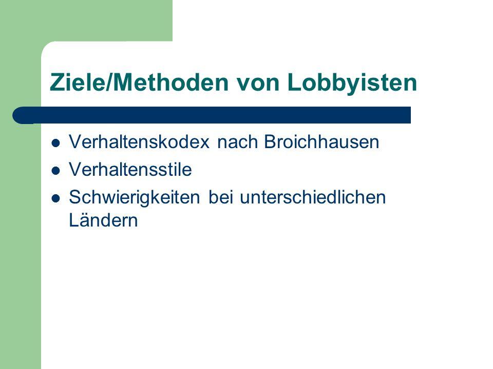 Ziele/Methoden von Lobbyisten