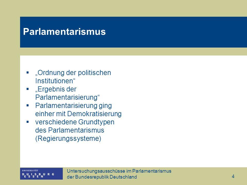 """Parlamentarismus """"Ordnung der politischen Institutionen"""