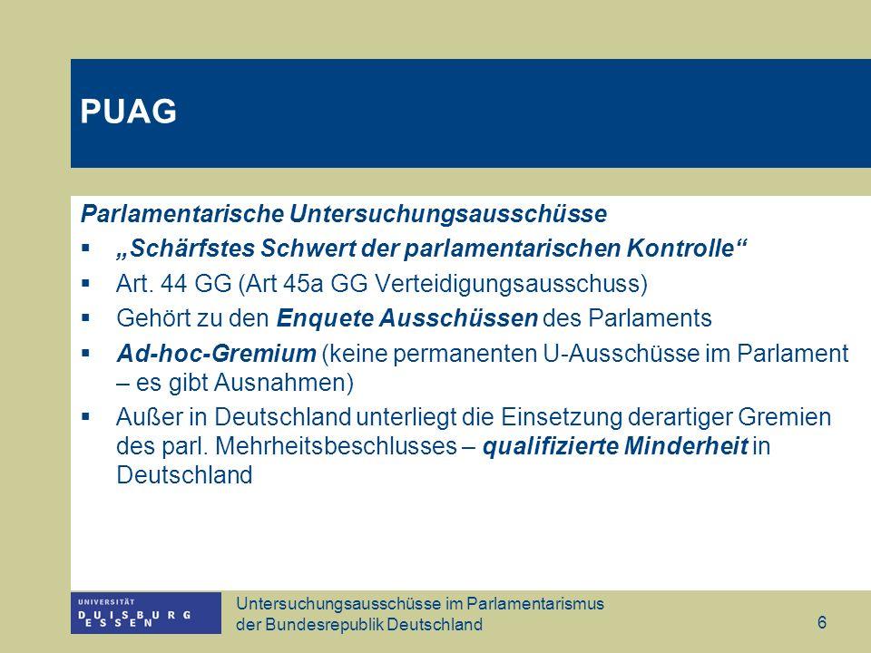 PUAG Parlamentarische Untersuchungsausschüsse