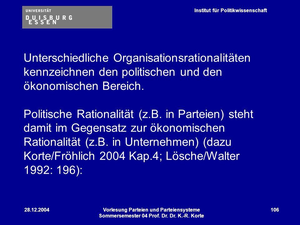 Unterschiedliche Organisationsrationalitäten kennzeichnen den politischen und den ökonomischen Bereich.