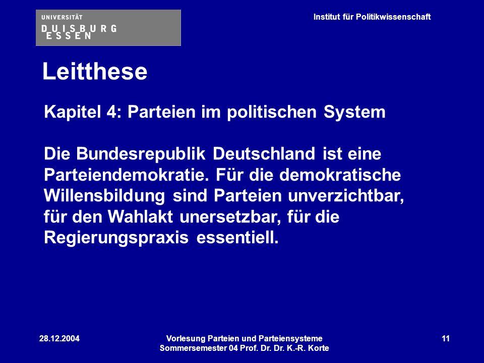 Leitthese Kapitel 4: Parteien im politischen System