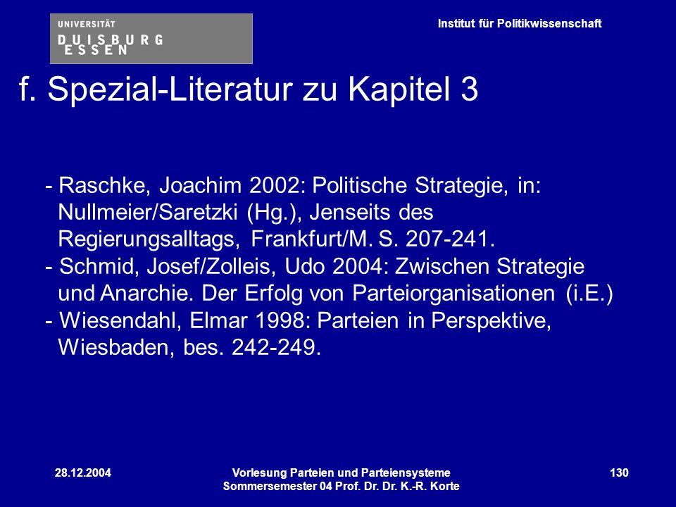 f. Spezial-Literatur zu Kapitel 3