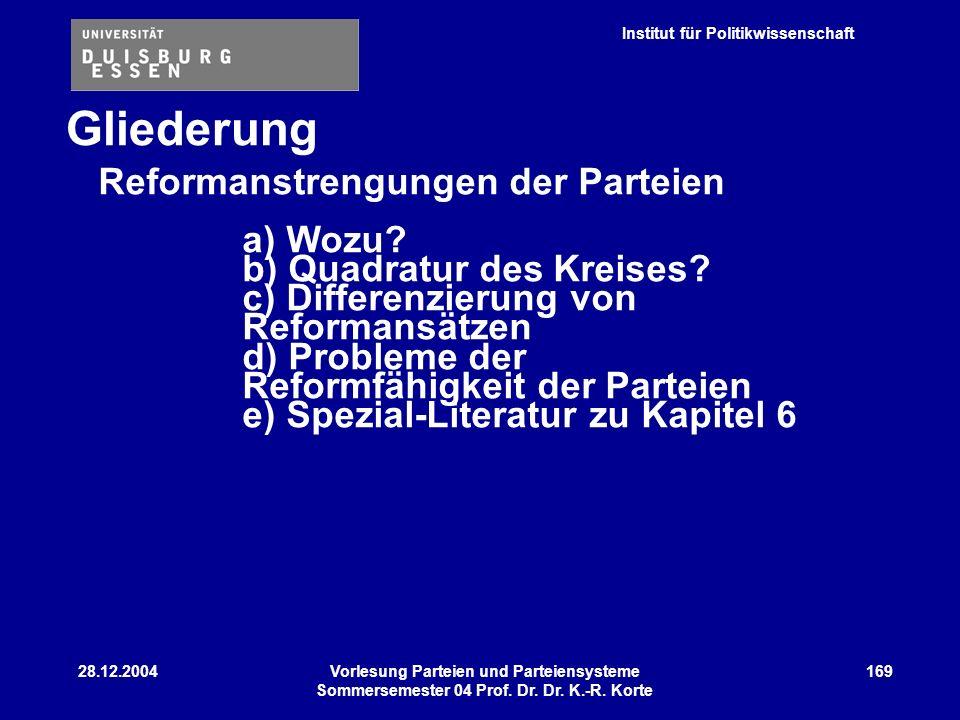 Gliederung Reformanstrengungen der Parteien a) Wozu