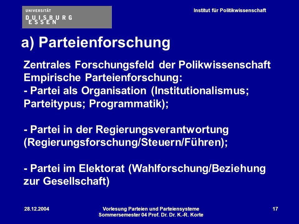 a) Parteienforschung Zentrales Forschungsfeld der Polikwissenschaft