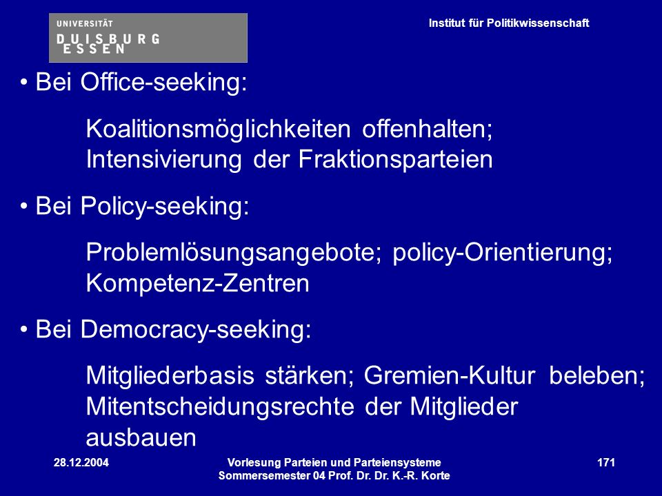 Problemlösungsangebote; policy-Orientierung; Kompetenz-Zentren