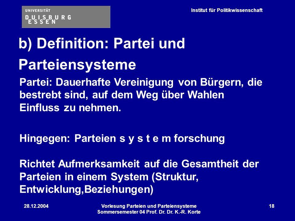 b) Definition: Partei und Parteiensysteme