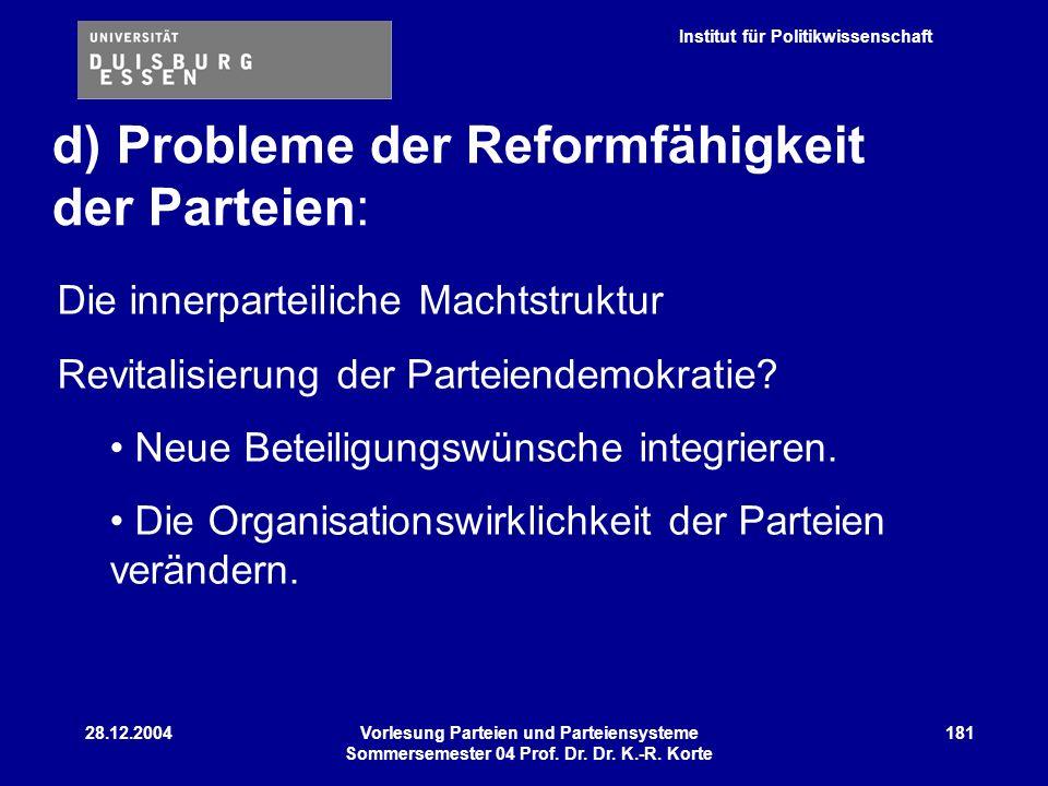 d) Probleme der Reformfähigkeit der Parteien: