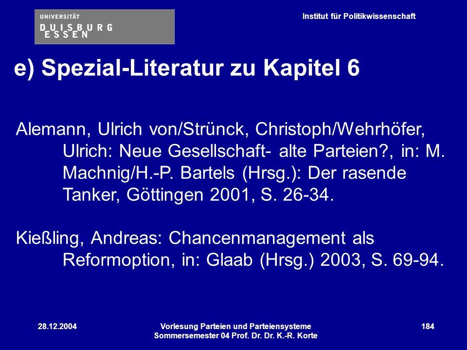 e) Spezial-Literatur zu Kapitel 6