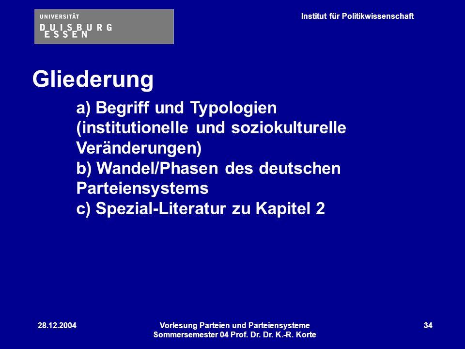 Gliederung a) Begriff und Typologien (institutionelle und soziokulturelle Veränderungen)