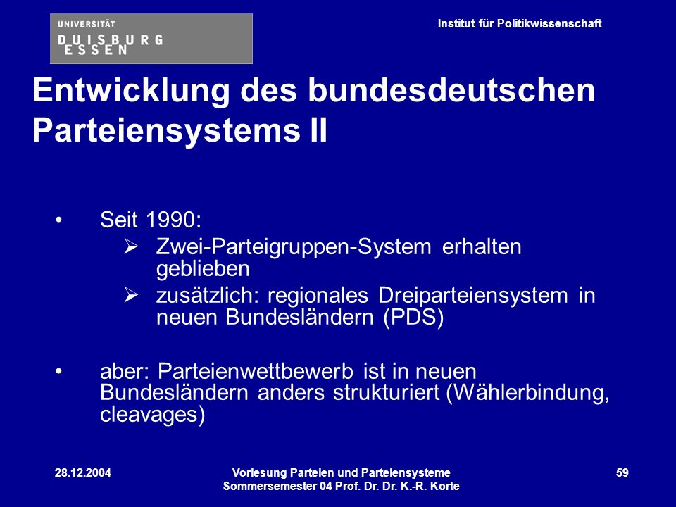 Entwicklung des bundesdeutschen Parteiensystems II