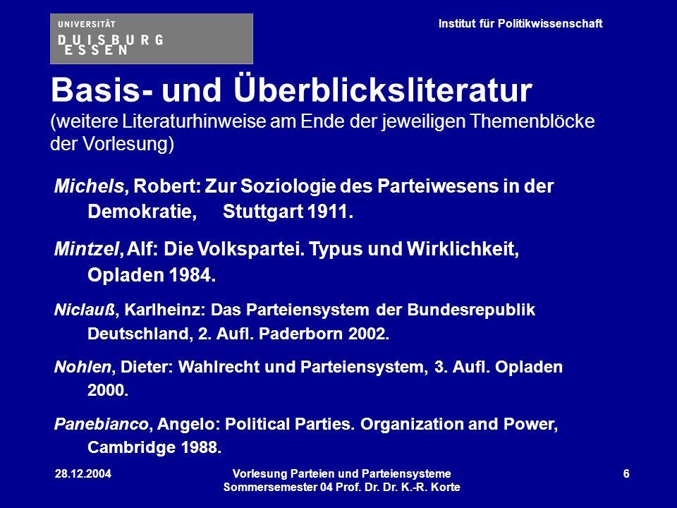 Basis- und Überblicksliteratur (weitere Literaturhinweise am Ende der jeweiligen Themenblöcke der Vorlesung)