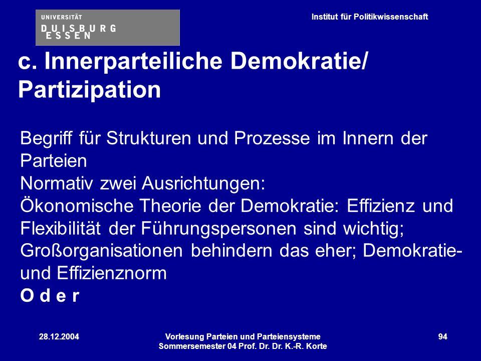 c. Innerparteiliche Demokratie/ Partizipation