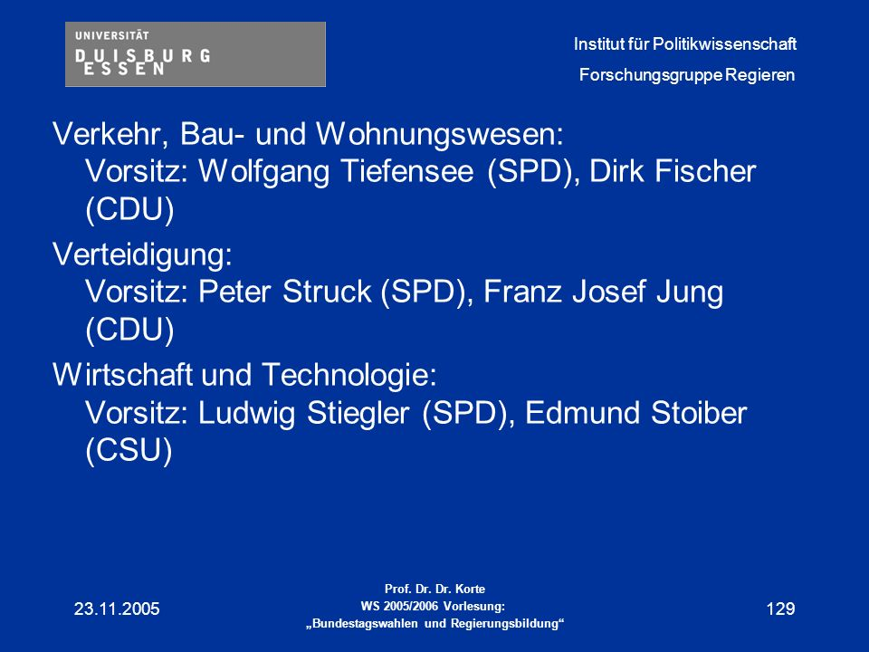 Verteidigung: Vorsitz: Peter Struck (SPD), Franz Josef Jung (CDU)