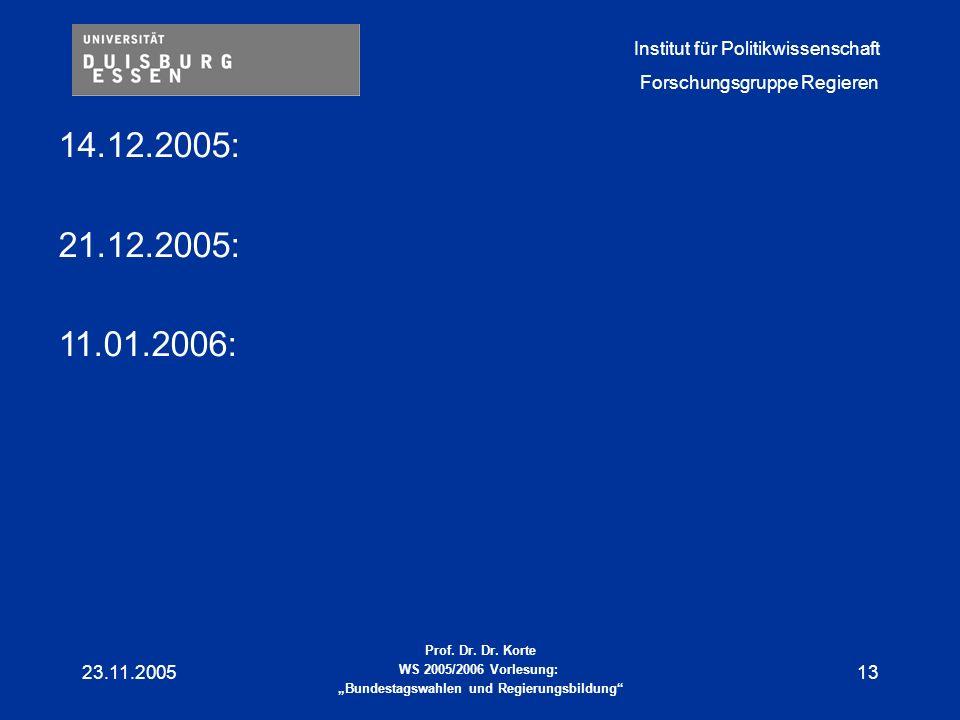14.12.2005: 21.12.2005: 11.01.2006: 23.11.2005