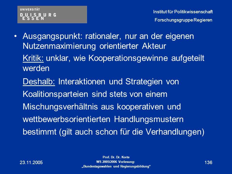 Kritik: unklar, wie Kooperationsgewinne aufgeteilt werden
