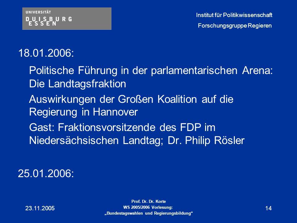 18.01.2006: Politische Führung in der parlamentarischen Arena: Die Landtagsfraktion. Auswirkungen der Großen Koalition auf die Regierung in Hannover.