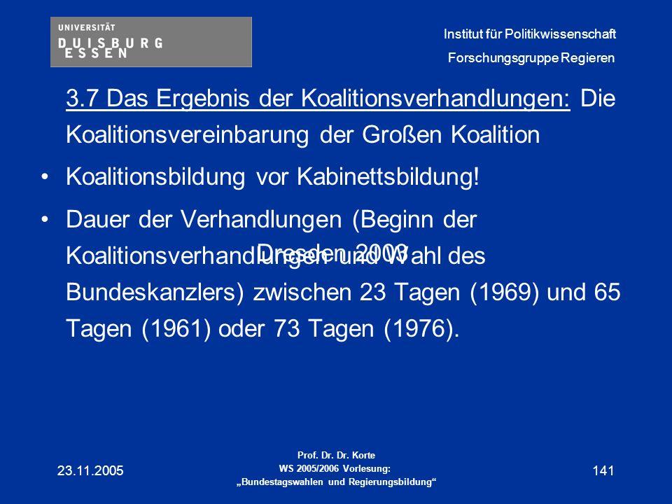 Koalitionsbildung vor Kabinettsbildung!