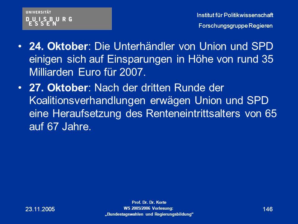 24. Oktober: Die Unterhändler von Union und SPD einigen sich auf Einsparungen in Höhe von rund 35 Milliarden Euro für 2007.