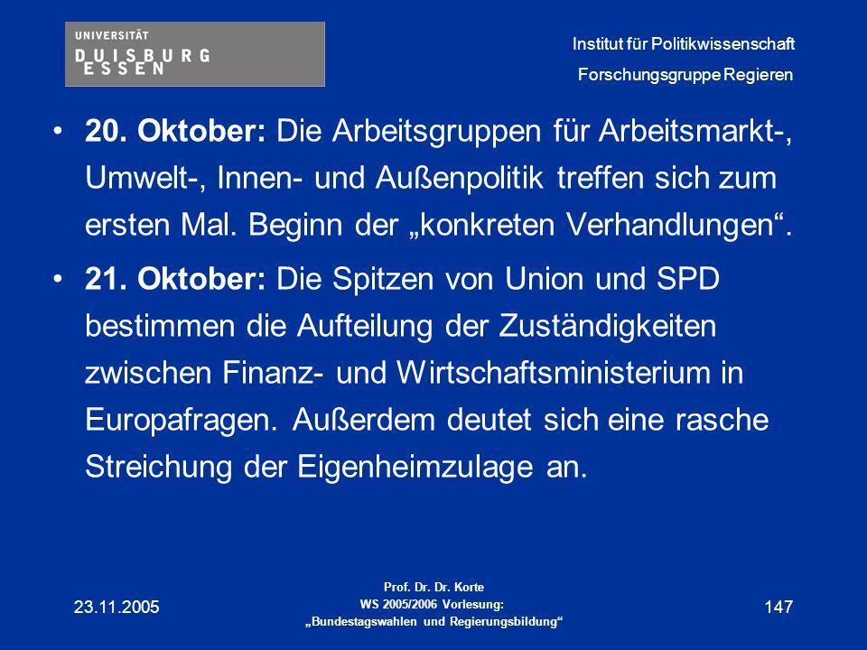 """20. Oktober: Die Arbeitsgruppen für Arbeitsmarkt-, Umwelt-, Innen- und Außenpolitik treffen sich zum ersten Mal. Beginn der """"konkreten Verhandlungen ."""