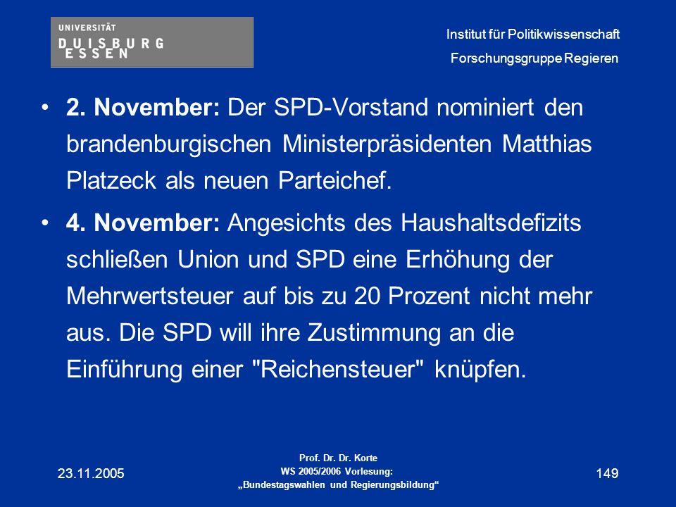 2. November: Der SPD-Vorstand nominiert den brandenburgischen Ministerpräsidenten Matthias Platzeck als neuen Parteichef.