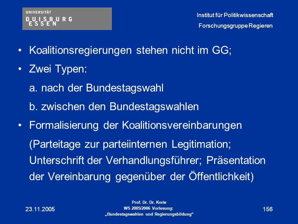 Koalitionsregierungen stehen nicht im GG; Zwei Typen: