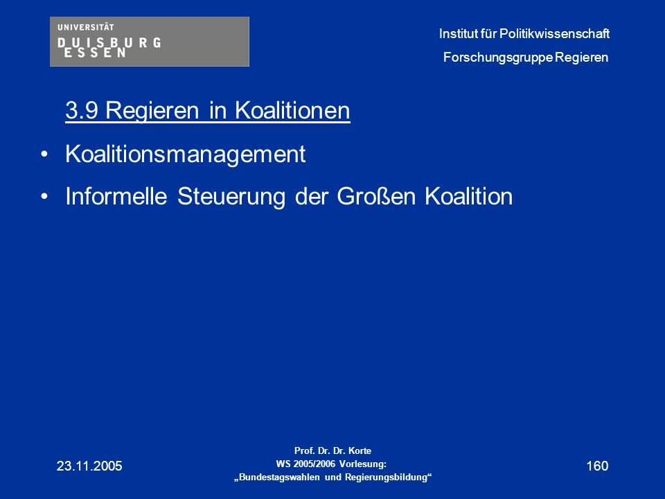 3.9 Regieren in Koalitionen
