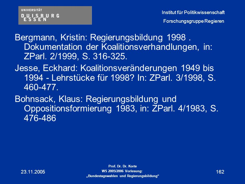 Bergmann, Kristin: Regierungsbildung 1998