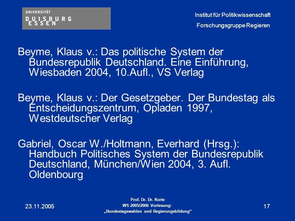 Beyme, Klaus v. : Das politische System der Bundesrepublik Deutschland