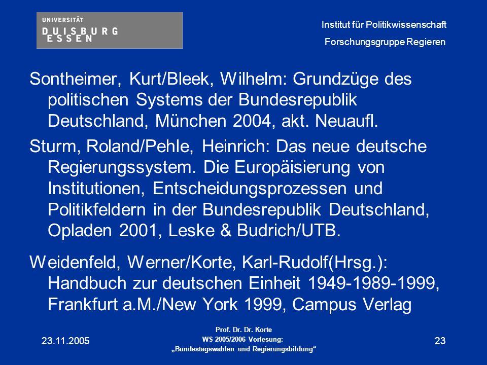 Sontheimer, Kurt/Bleek, Wilhelm: Grundzüge des politischen Systems der Bundesrepublik Deutschland, München 2004, akt. Neuaufl.