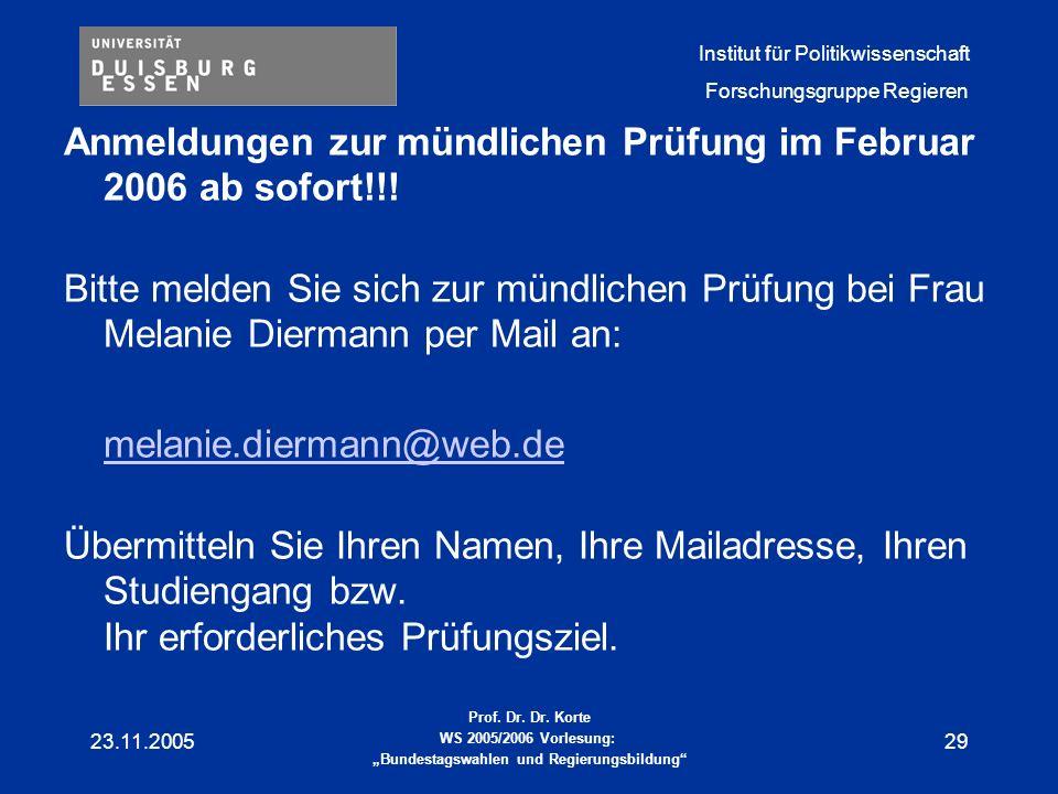 Anmeldungen zur mündlichen Prüfung im Februar 2006 ab sofort!!!
