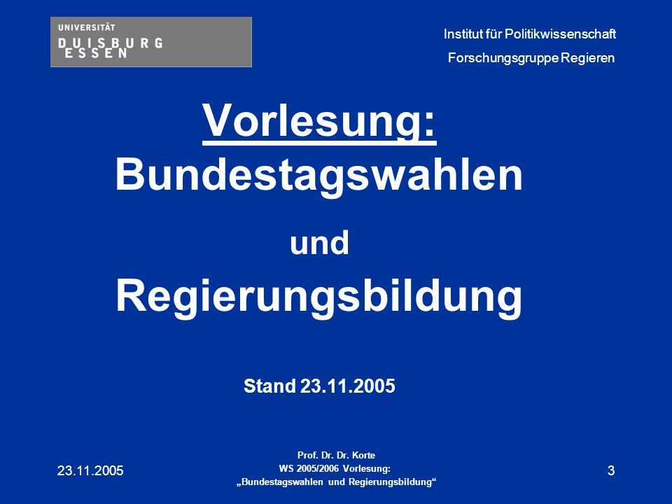 Vorlesung: Bundestagswahlen und Regierungsbildung Stand 23.11.2005